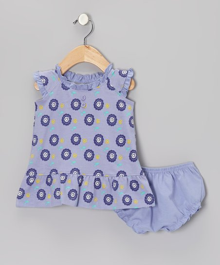 Violet Dot Floral Henley Dress & Diaper Cover - Infant