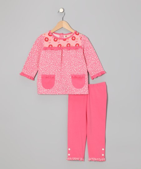 Flamingo Pink Daisy Top & Capri Pants - Toddler & Girls