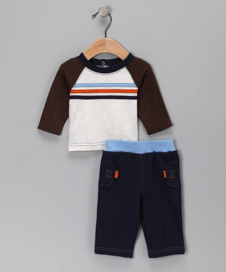 Brown Raglan Tee & Navy Blue Pants
