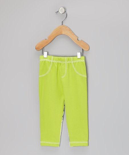 Apple Green Numbers Leggings - Infant