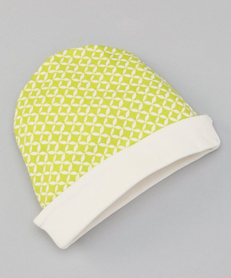 Lime Geometric Reversible Beanie
