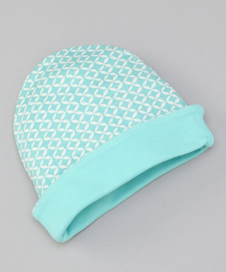 Teal Geometric Reversible Beanie