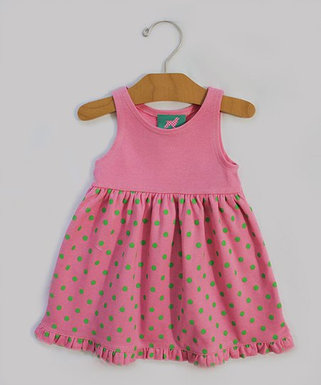 Pink & Green Polka Dot Dress - Infant & Girls