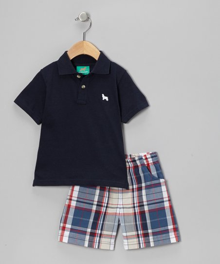 Navy Polo & Plaid Shorts - Infant, Toddler & Boys