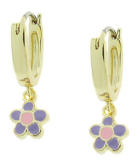 Lavender & Gold Flower Earrings