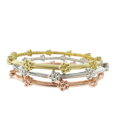 Gold Flower Stackable Bangle Set