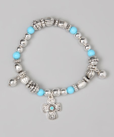 Blue Cross Charm Stretch Bracelet