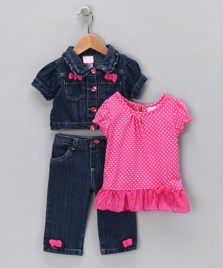 Pink Bow Denim Jacket Set - Infant & Girls
