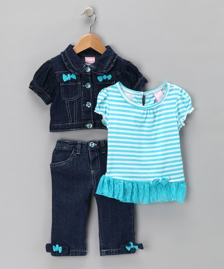 Blue Bow Denim Jacket Set - Infant, Toddler & Girls
