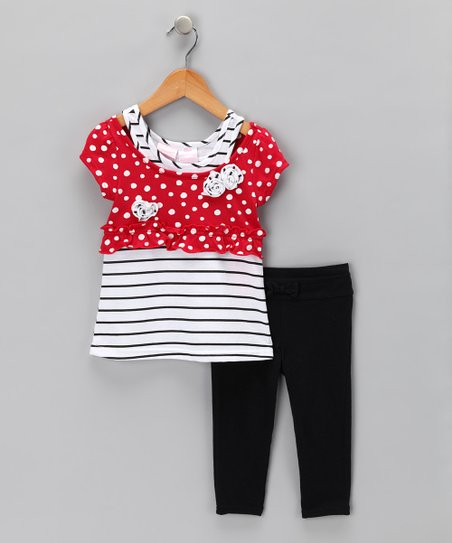Red Polka Dot Layered Tunic & Leggings - Infant