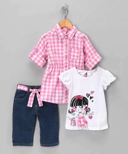 Pink Gingham Tunic Set - Infant