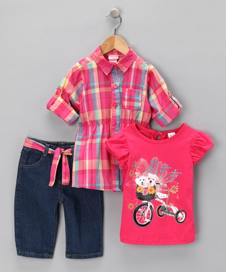 Fuchsia Plaid Tunic Set - Infant