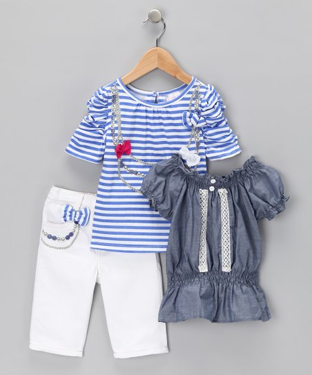 White &amp; Blue Stripe Bow Tee Set - Toddler