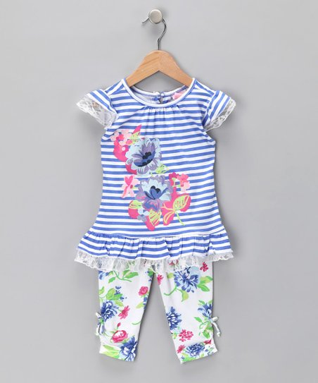 Blue Floral Tunic & Leggings - Toddler