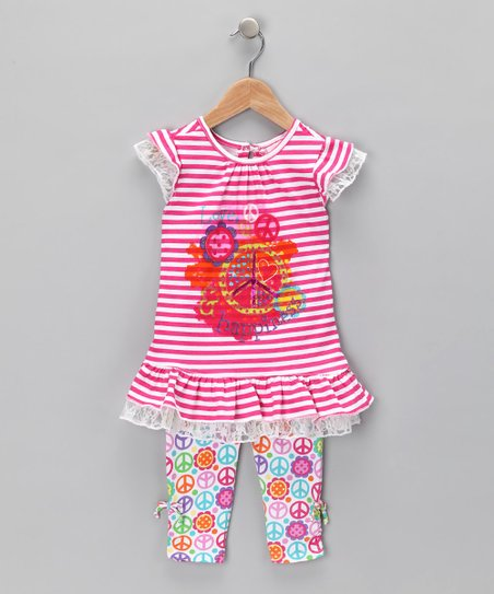 Pink Peace Sign Tunic & Leggings - Infant