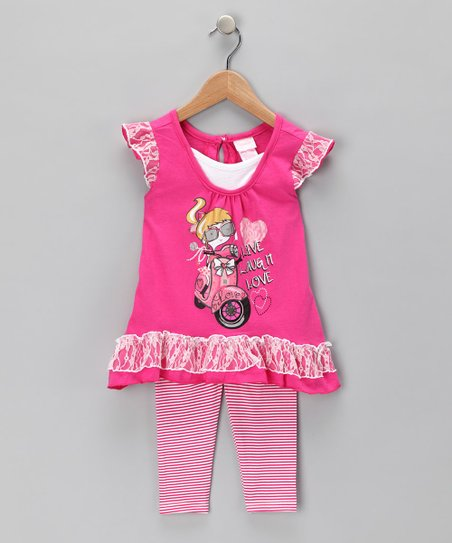 Pink 'Live Laugh Love' Tunic & Leggings - Infant
