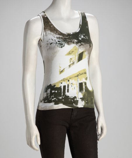Green &amp; Gray Cityscape Tank - Women