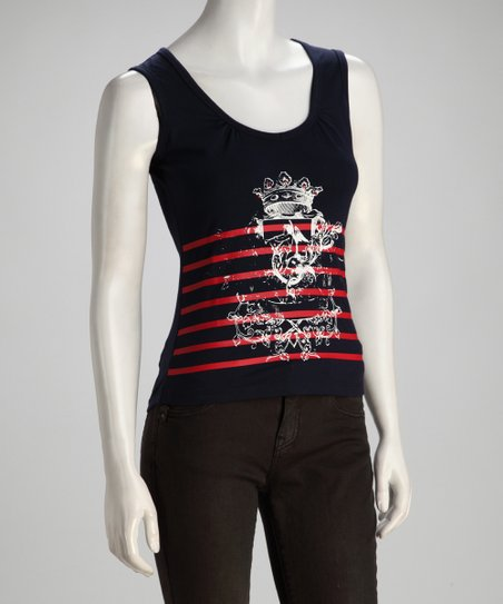 Navy & Red Stripe Sparkling Crest Tank - Women