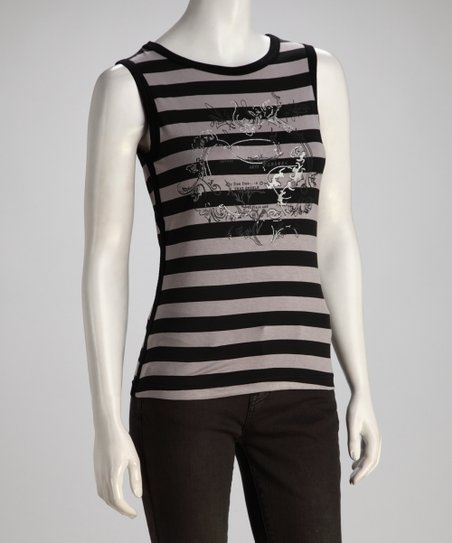 White & Black Stripe Sparkling Filigree Tank - Women