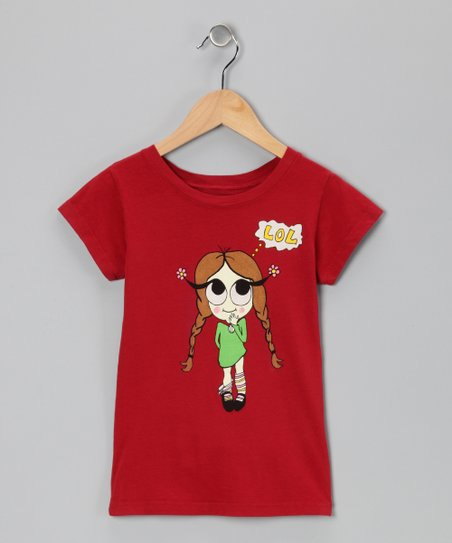 Red 'Lol' Girl Tee - Toddler & Girls
