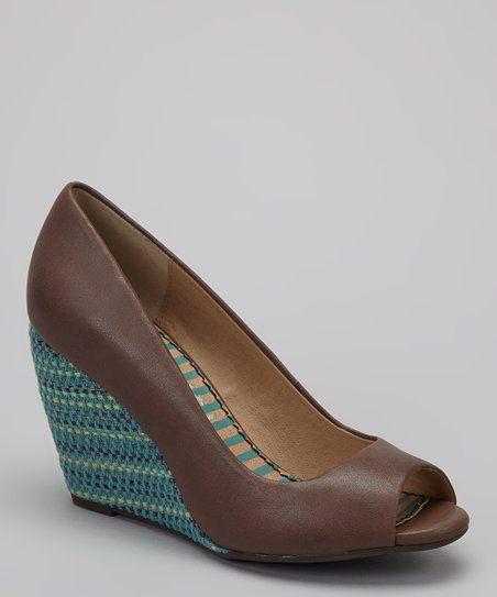 Walnut Derby Open-Toe Wedge