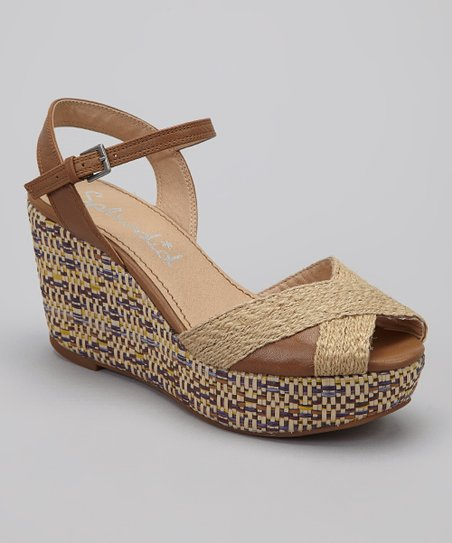 Biscotti Leather Granite Wedge Sandal