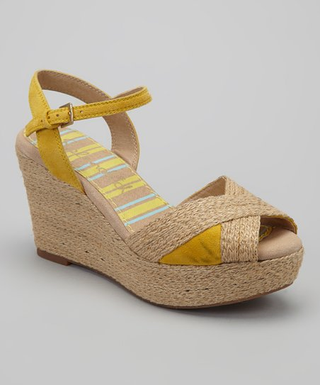 Canary Leather Biscotti Wedge Sandal