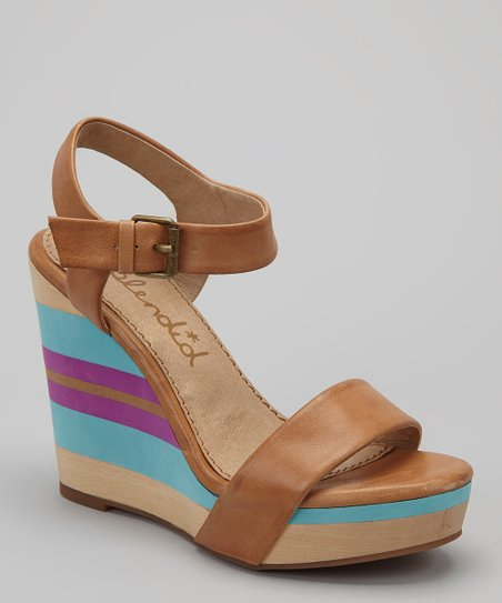 Caramel Stripe Kikka Wedge Sandal