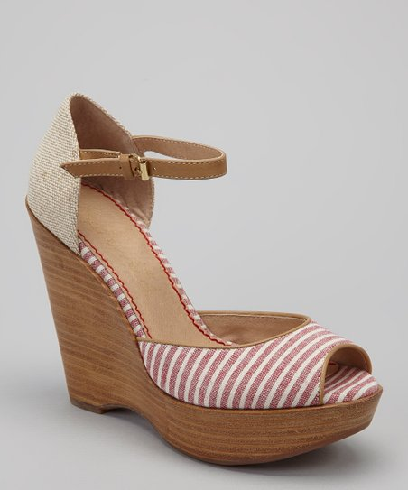 Red Stripe Langley Open-Toe Wedge