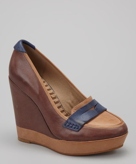 Caramel & Navy Logan Loafer Wedge