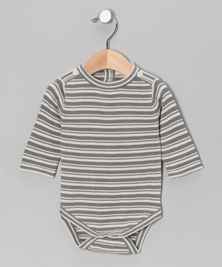 Gray Stripe Organic Bodysuit - Infant
