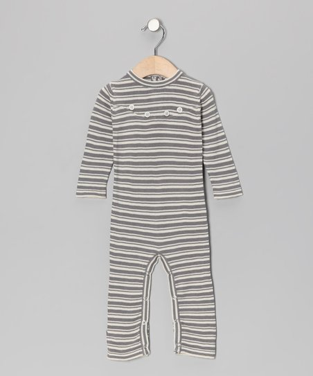Gray Stripe Yoked Organic Playsuit - Infant