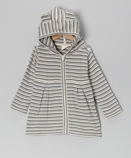 Gray Stripe Bear Organic Zip-Up Hoodie - Infant, Toddler &amp; Girls