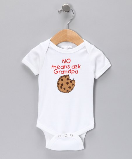 White &#039;No Means Ask Grandpa&#039; Bodysuit - Infant