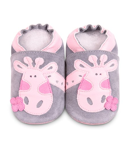 Gray &amp; Pink Giraffe Bootie