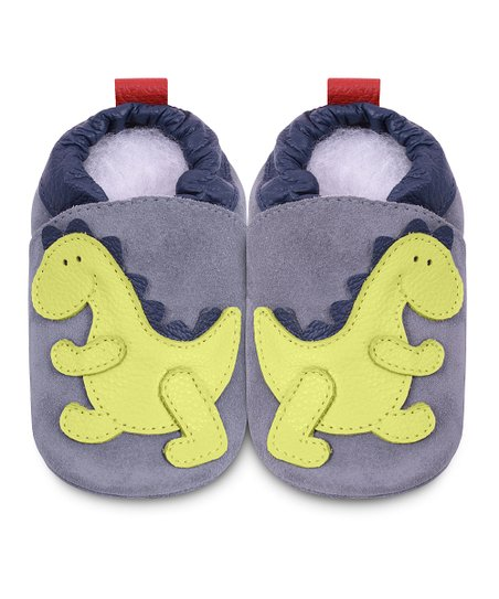 Gray &amp; Green Dinosaur Bootie
