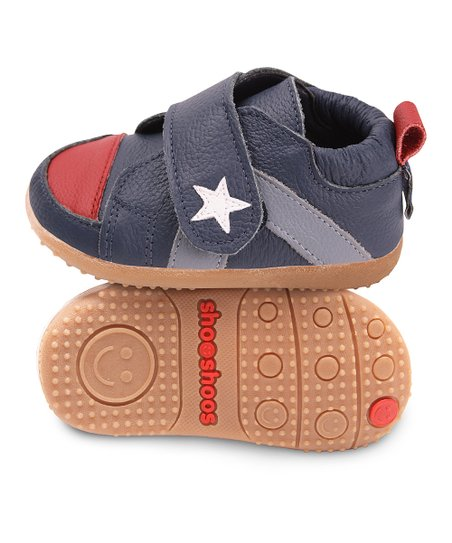 Navy & Red Star Smiley Bootie