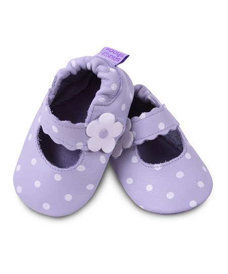 Lilac Polka Dot Flower Bootie