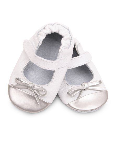 White &amp; Silver Bow Mary Jane