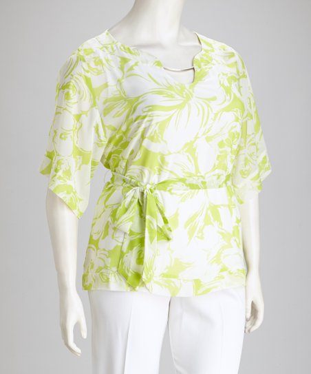 Lime & White Floral V-Neck Plus-Size Top & Pants
