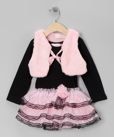 Black Ruffle Dress & Pink Plush Vest - Toddler & Girls