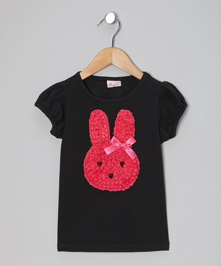 Black & Fuchsia Bunny Tee - Toddler & Girls