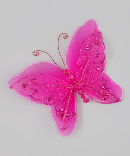 Hot Pink Glitter Butterfly Clip