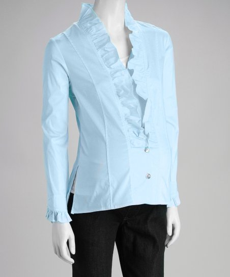 Blue Ruffle Maternity Top
