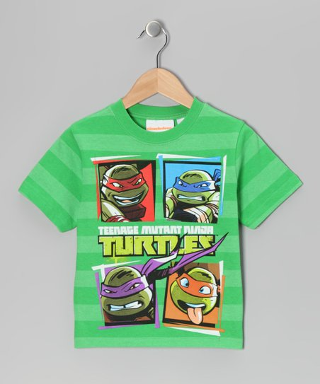 Mint Stripe TMNT Tee - Kids