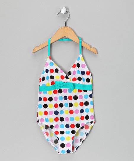 Teal Polka Dot One-Piece - Toddler & Girls