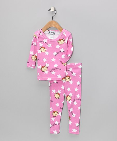 Pink Monkey Business Pajama Set - Infant