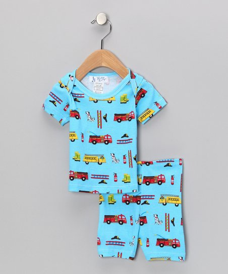 Blue Fire Engine Pajama Set - Infant
