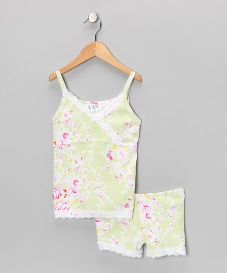Light Green Asia Blossom Pajama Set - Girls