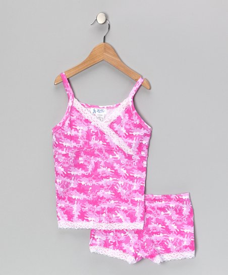 Pink Camo Skull Pajama Set - Girls